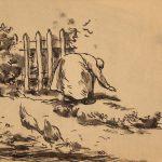 Grant Reynard, Grandma Pulling Weeds, ink, n.d.