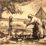 Grant Reynard, Grandma Feeding the Chickens, ink, n.d.