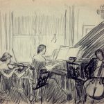 Grant Reynard, Norfleet Trio, Peterborough, New Hampshire Sketch #1, charcoal, n.d., 8½ × 11""