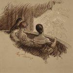 Grant Reynard, In a Parisian Theatre, Conte crayon, n.d.