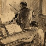 Grant Reynard, Beethoven Sonata (two sided), conte crayon, n.d.