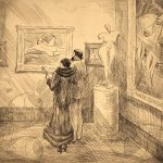 Grant Reynard, At an Exhibition, etching (early state), n.d.