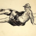 Grant Reynard, The Beach, (Study of male figure), ink, c. 1936