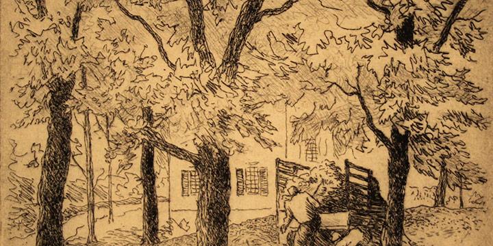 Grant Reynard, Gathering Leaves etching, n.d.
