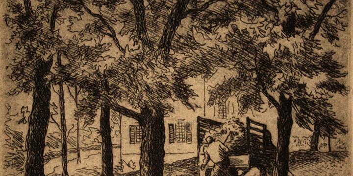 Grant Reynard, Gathering Leaves, etching, n.d.