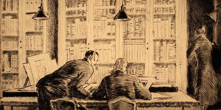 Grant Reynard, Fiske Boyd & Mr. Ivins in Print Room, etching, n.d., 1982.26.0136