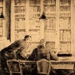 Grant Reynard, Fiske Boyd & Mr. Ivins in Print Room, etching, n.d.