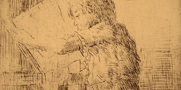 Grant Reynard, Child Reading, etching (1st state), n.d.