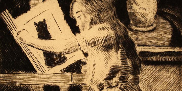 Grant Reynard, Child Reading, etching, n.d.