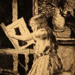 Grant Reynard, Child Reading, etching, n.d.