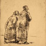 Grant Reynard, Two Female Figures in Coats, etching, n.d.