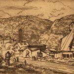 Grant Reynard, Mountain Town, etching, n.d.