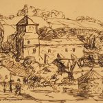 Grant Reynard, On the Road to Chartres (sketch), ink, n.d.