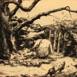 Grant Reynard, An Old Tree (woman & chickens), etching, n.d.