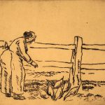 Grant Reynard, Woman Feeding Chickens, etching, n.d.