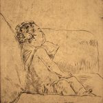 Grant Reynard, Child on Couch, etching, n.d.