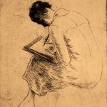 Grant Reynard, Girl Drawing, etching (1st proof of Cornell), n.d.