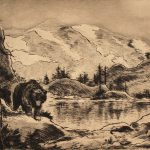 Grant Reynard, Bear in the Rockies, etching, n.d.