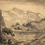 Grant Reynard, Bear in the Rockies (sketch), graphite, ink, n.d.