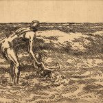 Grant Reynard, Untitled (Beach Scene, mother, child), etching, n.d.