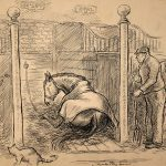 Grant Reynard, Oh' Boy in His Stall, ink, n.d.