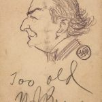 Grant Reynard, William Jennings Bryan, graphite on back of Gaston Music Company card with Bryan autograph, c. 1908