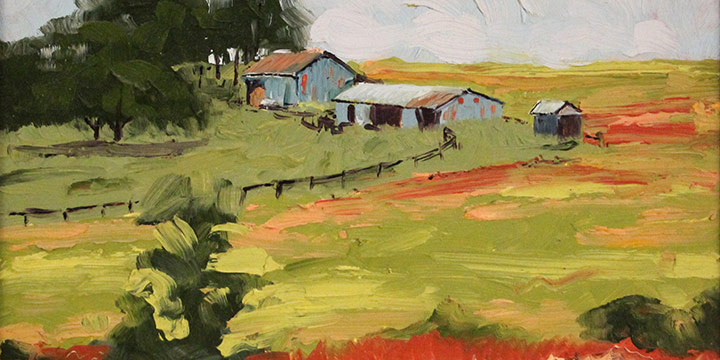 Franz Brown, East of Waterville (Kansas), oil on board, n.d.