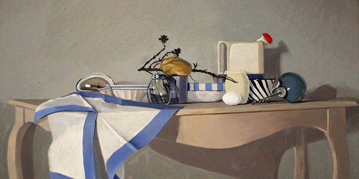 Robin Smith, Untitled (still life with blue and white tablecloth), oil on canvas, n.d.