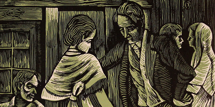Morris Gorden, Untitled (barn dance), woodcut print, 1937