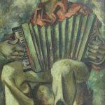 Emery Abraham (Donald) Forbes, The Accordionist, oil on canvas, c. 1936, 36 × 24""