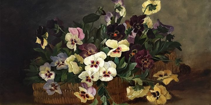 Helen Martanie, Snowden , Pansies, oil on canvas, 1886, Gift of Dr. Paul W. Emerson to Joslyn Art Museum, 1955.Transfer to Museum of Nebraska Art, 1995. Conservation made possible by MONA Guild