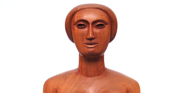 Margarita Worth, Untitled (woman), carved wood, n.d., 23½ × 10 × 6½""