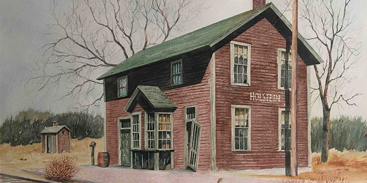 Curtis W. Routh, Holstein Depot, watercolor, 1979