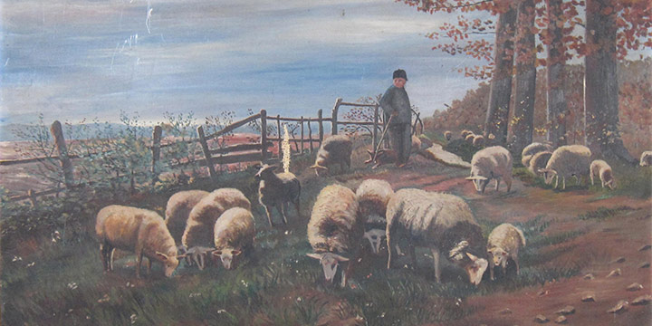 Victor R. Schober, Landscape With Sheep, oil