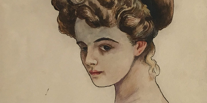 Victor R. Schober, Gibson Girl, watercolor, 1919