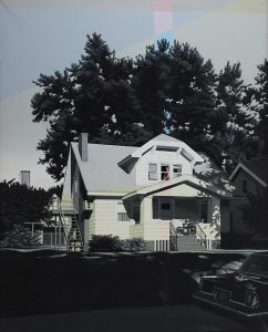 Peter Walkely, Untitled #1983 (white house with figure), acrylic on canvas, 1983, 50 × 40""