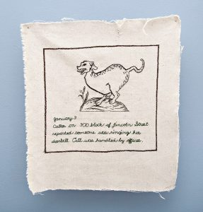 Jen Bockelman, Ringing Doorbell, embroidered cotton, Collection of the Artist