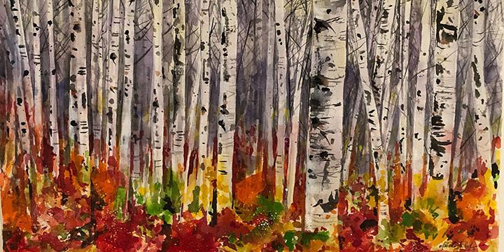 Doug Waterfield, Birches, Watercolor, 2019