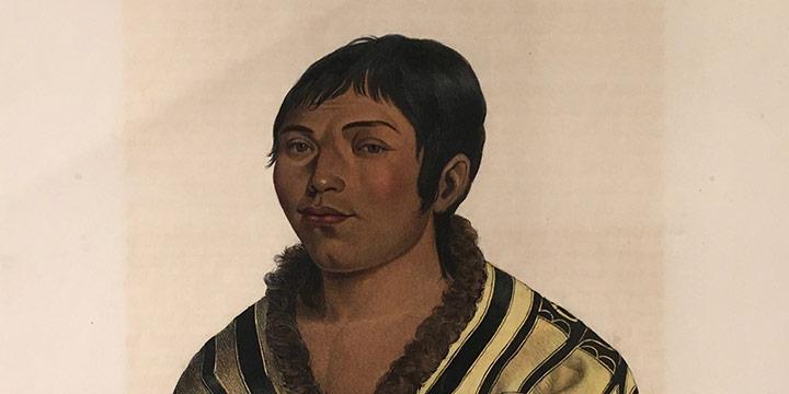 "Unknown Artist, Stum-ma-nu, a Flat-Head Boy, handcolored lithograph, 1865-1870, 20 × 13¾"""