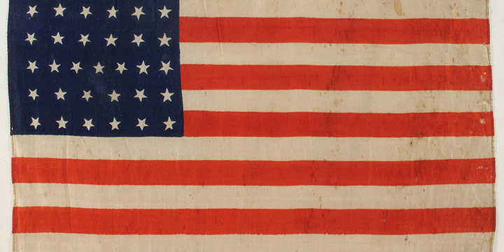 """Unknown, 37 Star Flag of the United States of America (Nebraska was the 37th state), linen, c. 1867, 11 &times 17"""""""