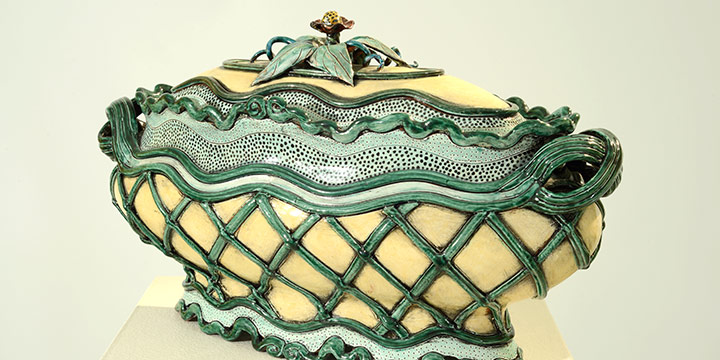 Gail Kendall, Meadowlark Tureen, ceramic, 2004, 11½ × 21 × 9""