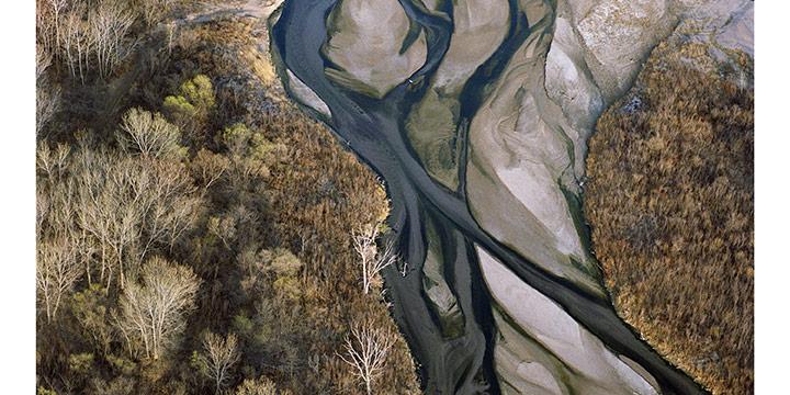 "Terry Evans, Platte River, Nebraska April 1990 No. 3, archival pigment print, 1990, 44 × 44"""