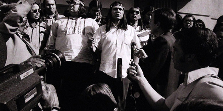 Bill Ganzel, Russell Means and the Press During the Wounded Knee Takeover, 1973, digital archival print, printed 2018
