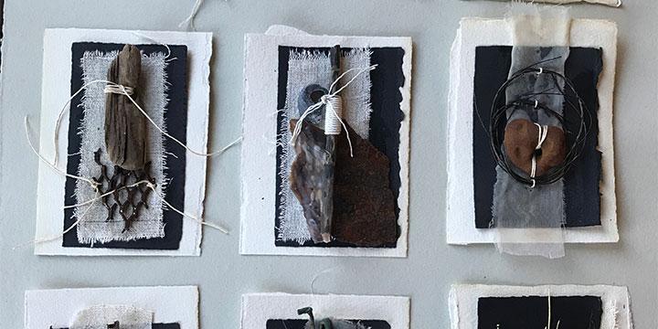 Pat Wiederspan-Jones, Artifacts from the Beach, mixed media, 2019, 32 × 26½