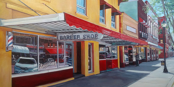 Katrina Swanson, Barber Shop, oil, 2019, 24 × 36