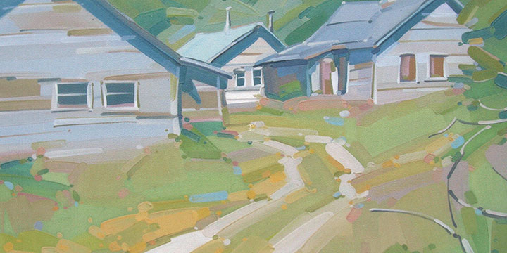 Mick Shimonek, Cabins at Rollins Tunnl, oil, n.d., 24¾ × 30