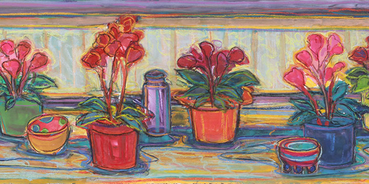 Susan Puelz, Christmas Cyclamen, watercolor, pastel 2019, 22 × 49""