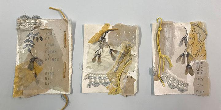 Pat Wiederspan-Jones, Dreams of Wings, mixed media, 2019, 15 × 24½