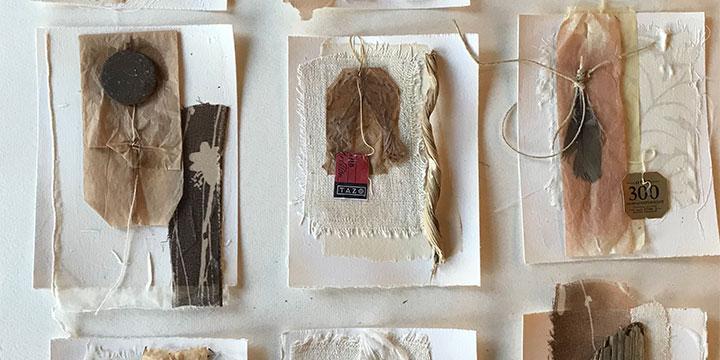 Pat Wiederspan-Jones, Everyday Artifacts, mixed media, 2019, 24 × 20