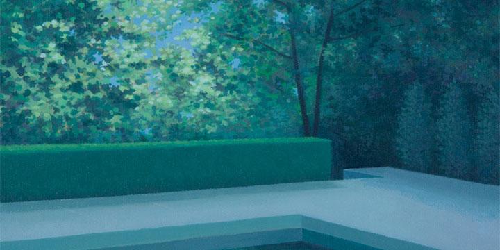 "Merrill Peterson, Franks Pool, Oil, 18¼ × 18¼"""